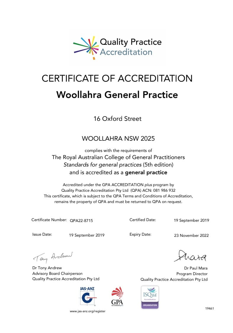 QPA Accreditation Certificate for Woollahra General Practice